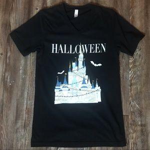Halloween Cinderella Castle Disney Black Vneck Tee
